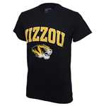 Mizzou Tiger Head Black Crew Neck T-Shirt