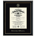 University of Missouri Official Seal in Onyx Gold Black Diploma Frame