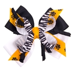 Black & Gold Zebra Paw Print Hair Bow
