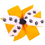 Gold & White Paw Print Pinwheel Hair Bow