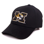 Mizzou Tiger Head Black Adjustable Hat