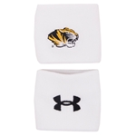 "Mizzou Under Armour White 3"" Performance Wristbands"