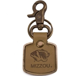 Mizzou Tiger Head Engraved Gold Leather Keychain