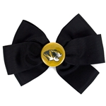 Mizzou Tiger Head Black Ribbon Hair Bow