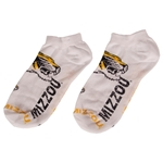 Mizzou Tiger Head Distressed White No Show Socks