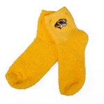 Mizzou Tiger Head Fuzzy Gold Sleep Socks