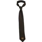 Mizzou Oval Tiger Head Polka Dot Black Silk Tie