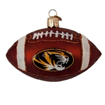 Mizzou Oval Tiger Head Football Glass Ornament