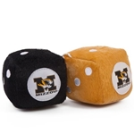 Mizzou Tiger Head Black & Gold Fuzzy Dice