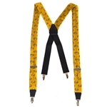 Mizzou Oval Tiger Head All Over Gold Suspenders
