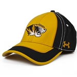 Mizzou Under Armour Tiger Head Gold & Black Stretch-Fit Hat