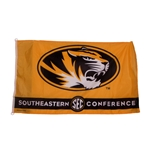 Mizzou Oval Tiger Head SEC Gold Flag