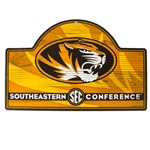 Mizzou Oval Tiger Head SEC Wooden Sign