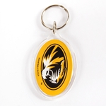 Mizzou Oval Tiger Head SEC Keychain