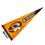 Mizzou Oval Tiger Head SEC Black & Gold Pennant