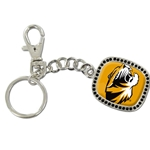 Mizzou Tiger Head Bling Gold Keychain