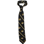 Mizzou Oval Tiger Head Black & Gold Thin Stripe Tie