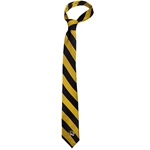 Mizzou Oval Tiger Head Diagonal Stripe Black & Gold Silk Tie