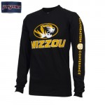 Mizzou Oval Tiger Head SEC Sleeve Black Crew Neck Shirt