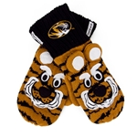 Mizzou Oval Tiger Head Striped Black & Gold Truman Mittens