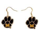 Mizzou Vault Paw Print Dangle Earrings