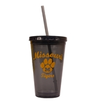 Missouri Tigers Charcoal Tumbler with Straw