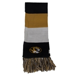 Mizzou Three Striped Fringe Scarf Tigerhead And Script