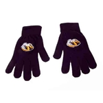 Mizzou Tiger Head Black Acrylic Gloves