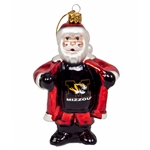 Mizzou Glass Santa Ornament
