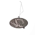 Mizzou Oval Tiger Head Pewter Magnet Ornament