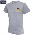 Mizzou Oval Tiger Head SEC Pinwheel Grey Crew Neck T-Shirt