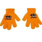 Mizzou Tiger Head Kid's Gold Knit Gloves