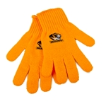 Mizzou Tiger Head Women's Gold Knit Gloves