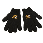 Mizzou Tiger Head Kid's Black Knit Gloves