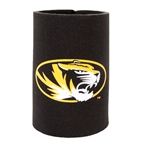 Mizzou Oval Tiger Head Black Foam Koozie