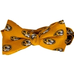 Mizzou Tigerhead Gold Bow Tie
