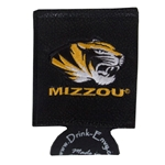 Mizzou Tiger Head Black Leather Collapsible Koozie