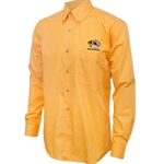 Mizzou Antigua Tiger Head  Striped Gold Dress Shirt