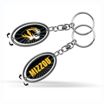 Mizzou Oval Tiger Head Metal Spinner Keychain