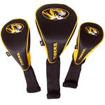 Missouri Oval Tiger Head Black & Gold Nylon Head Covers Set of 3