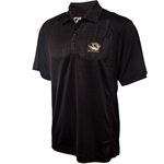 Mizzou Cutter & Buck Tiger Head Drytec Embossed Black Polo