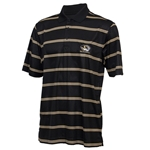Mizzou Cutter & Buck Tiger Head Honeycomb Striped Black Polo