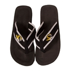 Mizzou Tiger Head Black Flip Flops