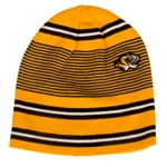 Mizzou Tiger Head Multistripe Black and Gold Beanie