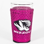 Mizzou Pint Glass with Pink Sparkle Cover