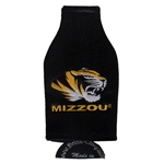 Mizzou Tiger Head Black Leather Bottle Koozie