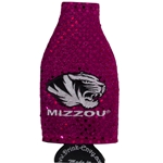 Mizzou Tiger Head Pink Bling Bottle Koozie