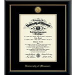 University of Missouri PHD 23K Medallion in Onyx Diploma Frame