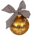 Mizzou Season Tiger Head Footballs Gold Glass Ball Ornament