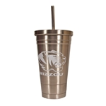 Mizzou Tiger Head Stainless Steel Tumbler with Straw